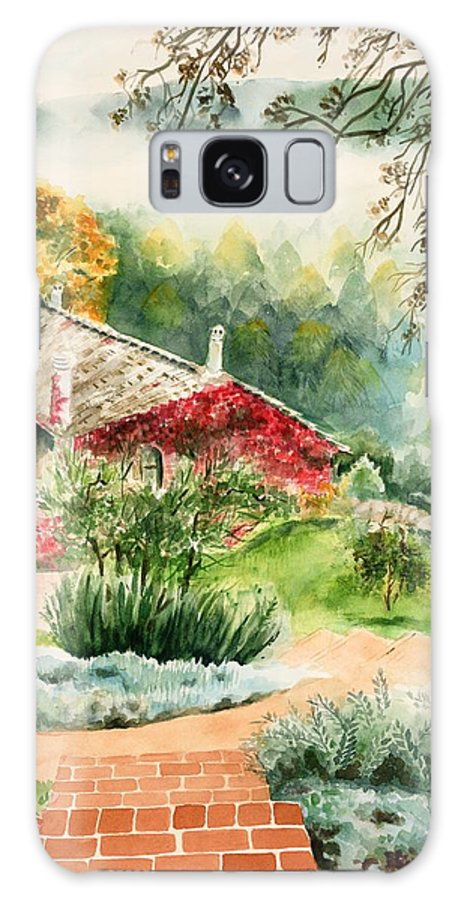 View Of Pathway To Red Cottage And Mountains In Mist Galaxy Case featuring the painting Dievole Vineyard In Tuscany by Judy Swerlick