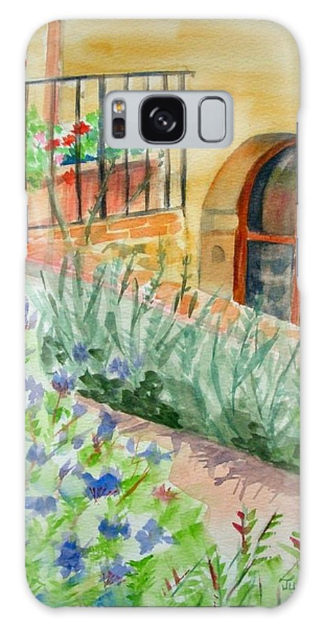 Flowers Surrounding Apartment On Vineyard Galaxy Case featuring the painting Dievole Vineyard by Judy Swerlick