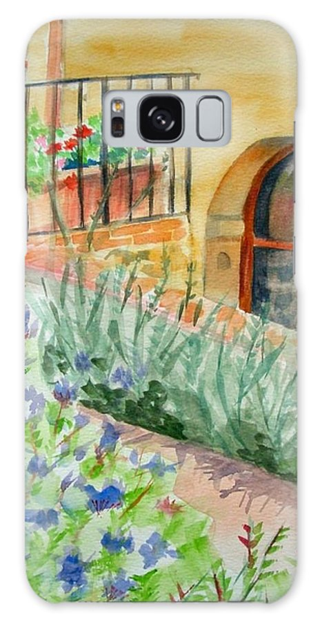 Flowers Surrounding Apartment On Vineyard Galaxy S8 Case featuring the painting Dievole Vineyard by Judy Swerlick