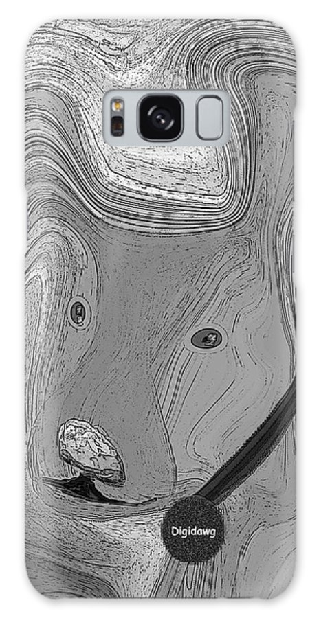 Ruth Palmer Abstract Black And White Digital Dog Dogs Animals Humor Funny Galaxy Case featuring the digital art Digidawg by Ruth Palmer