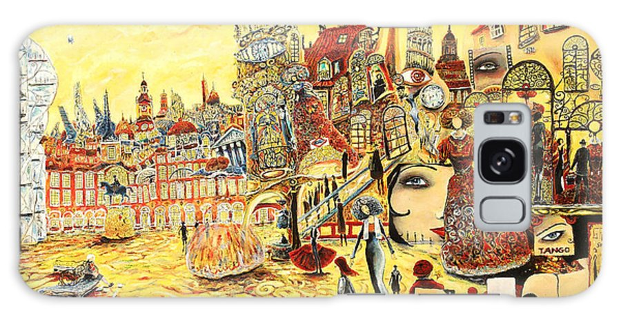 Cityscape Galaxy S8 Case featuring the painting Digital Dreams Of A Young Woman From Buenos Aires In Madrid by Carlos Pardo