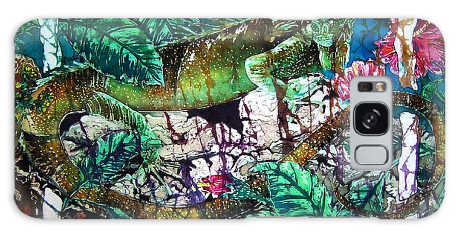 Iguana Galaxy Case featuring the painting Dining At The Hibiscus Cafe - Iguana by Sue Duda