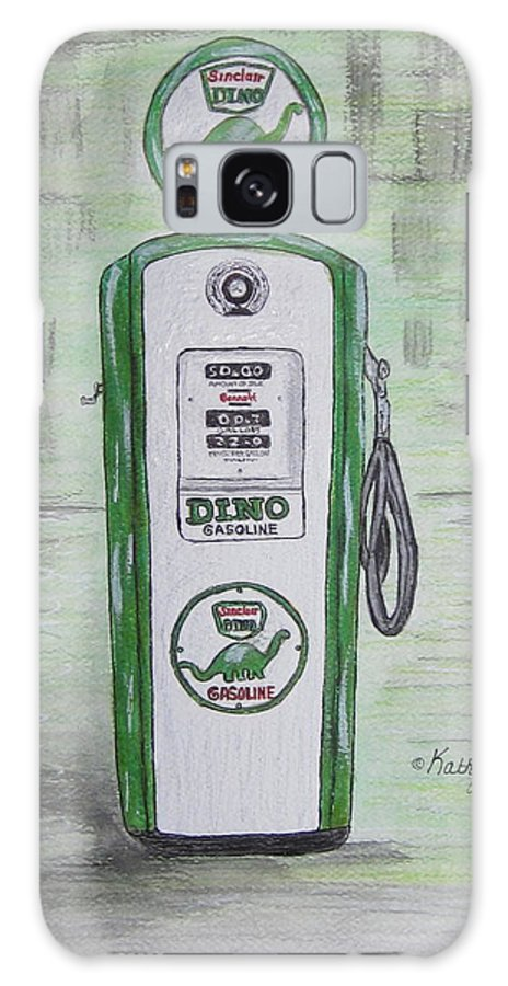 Dino Galaxy S8 Case featuring the painting Dino Sinclair Gas Pump by Kathy Marrs Chandler