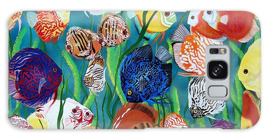 Fish Galaxy S8 Case featuring the painting Discus Fantasy by Debbie LaFrance