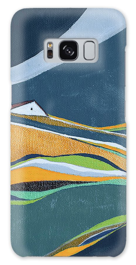 Abstract Galaxy S8 Case featuring the painting Distant House by Aniko Hencz