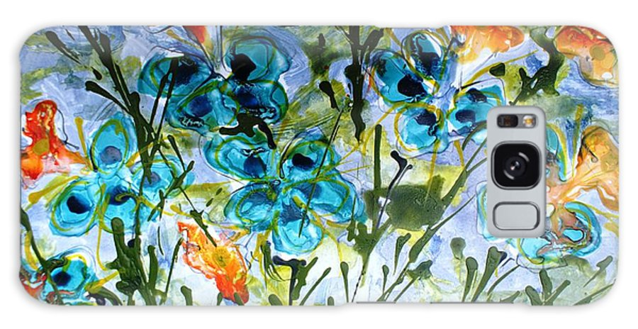 Flowers Galaxy S8 Case featuring the painting Divine Blooms-21180 by Baljit Chadha