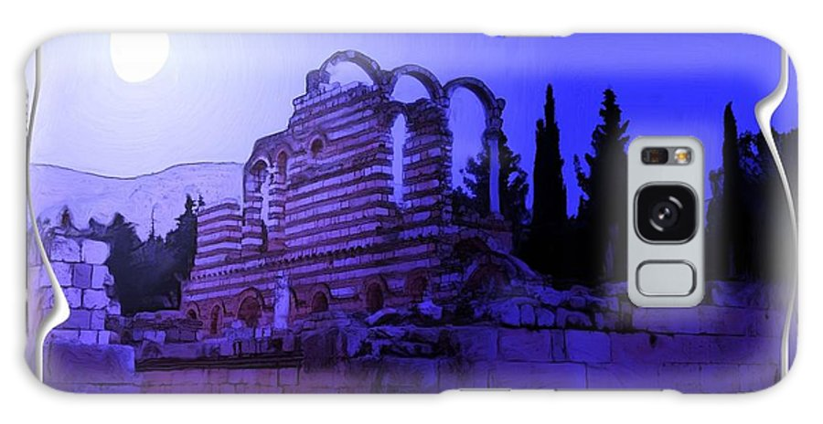 Moon Galaxy S8 Case featuring the photograph Do-00307 Moon On Anjar Ruins by Digital Oil