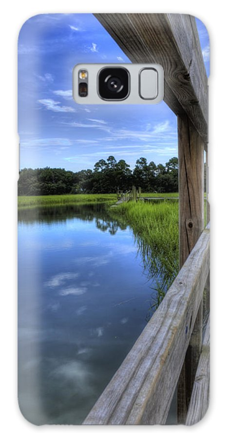 Lowcountry South Carolina Sky Reflection Dock Landscape Marsh Water Creek South Carolina Textures Galaxy S8 Case featuring the photograph Dock Lines by Dustin K Ryan