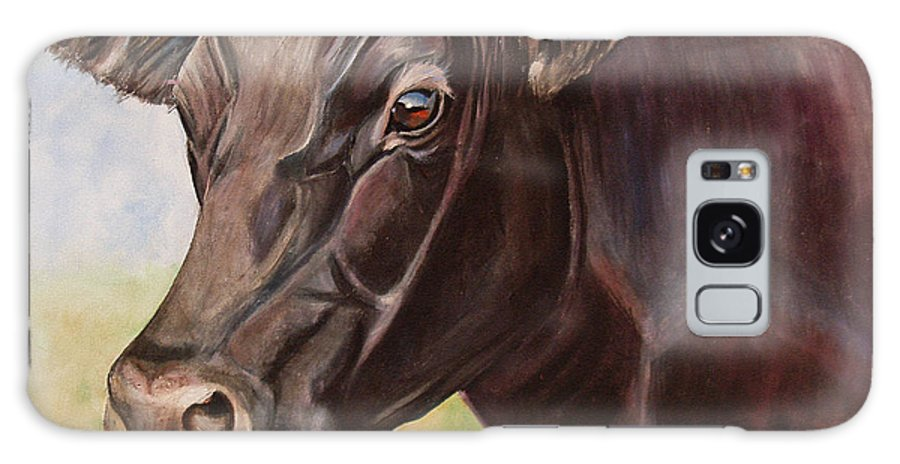 Cow Galaxy S8 Case featuring the painting Dolly The Angus Cow by Toni Grote