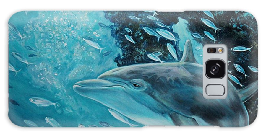 Underwater Scene Galaxy Case featuring the painting Dolphin With Small Fish by Diann Baggett