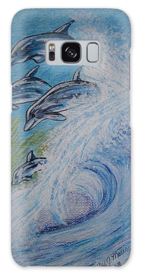 Dolphins Galaxy Case featuring the painting Dolphins Jumping In The Waves by Kathy Marrs Chandler