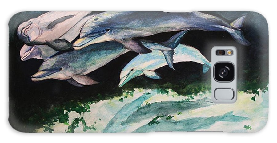 Dolphins Galaxy S8 Case featuring the painting Dolphins by Laura Rispoli