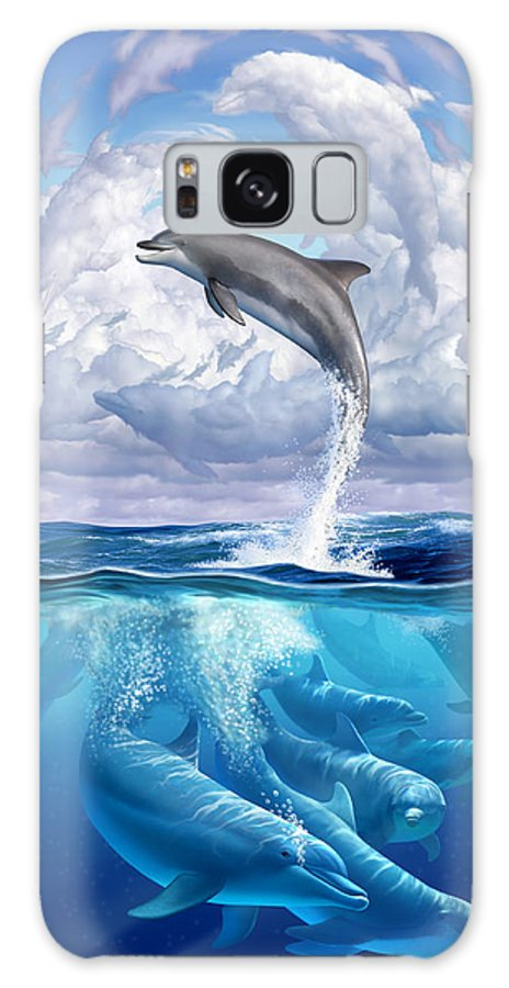 Dolphins Galaxy Case featuring the digital art Dolphonic Symphony by Jerry LoFaro
