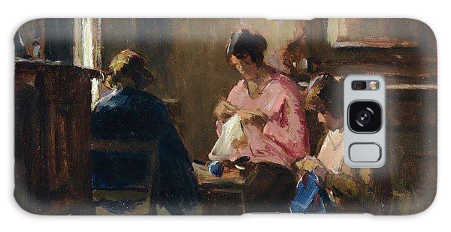 Ludovico Tommasi (livorno 1866 - Firenze 1941) Galaxy S8 Case featuring the painting Donne Che Cuciono by Ludovico Tommasi
