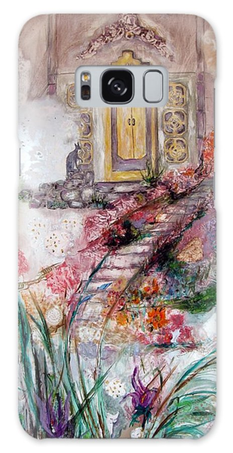 Floral Landscape With Mysterious Architectural Elements Galaxy Case featuring the painting Door To Mysteries by Sarah Wharton White