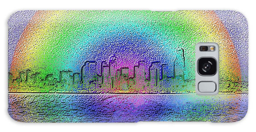 Seattle Galaxy S8 Case featuring the photograph Downtown Rainbow In The Wake by Tim Allen