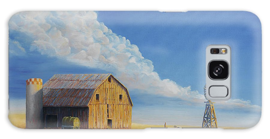 Barn Galaxy S8 Case featuring the painting Downtown Wyoming by Jerry McElroy