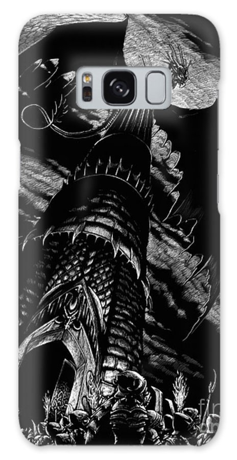 Dragon Galaxy S8 Case featuring the drawing Dragon Tower by Stanley Morrison