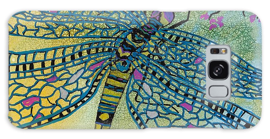 Dragonfly Galaxy S8 Case featuring the mixed media Dragonfly And Cherry Blossoms by Susan Kubes