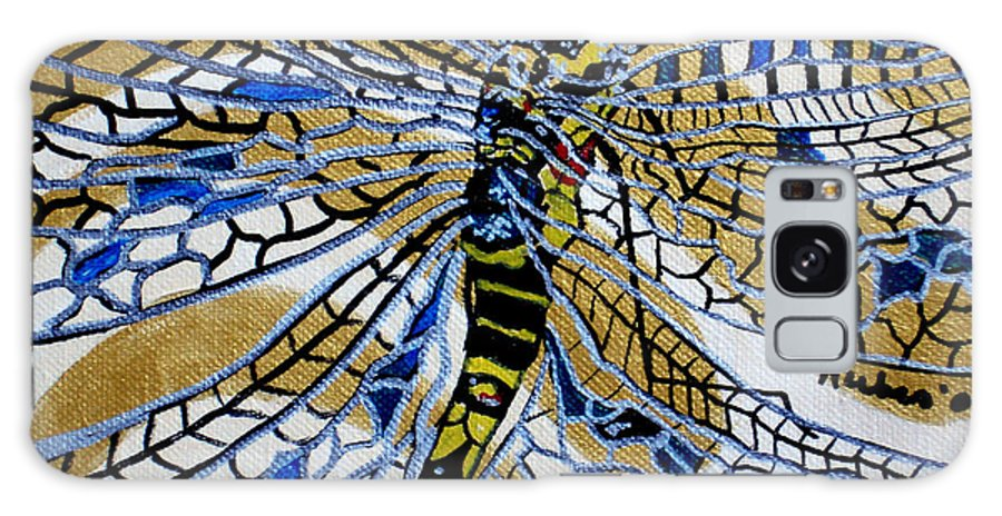 Dragonfly Galaxy S8 Case featuring the painting Dragonfly On Gold Scarf by Susan Kubes