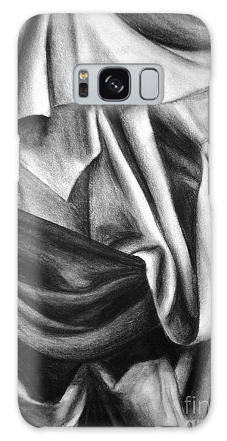 Charcoal Galaxy S8 Case featuring the drawing Drapery Still Life by Nancy Mueller