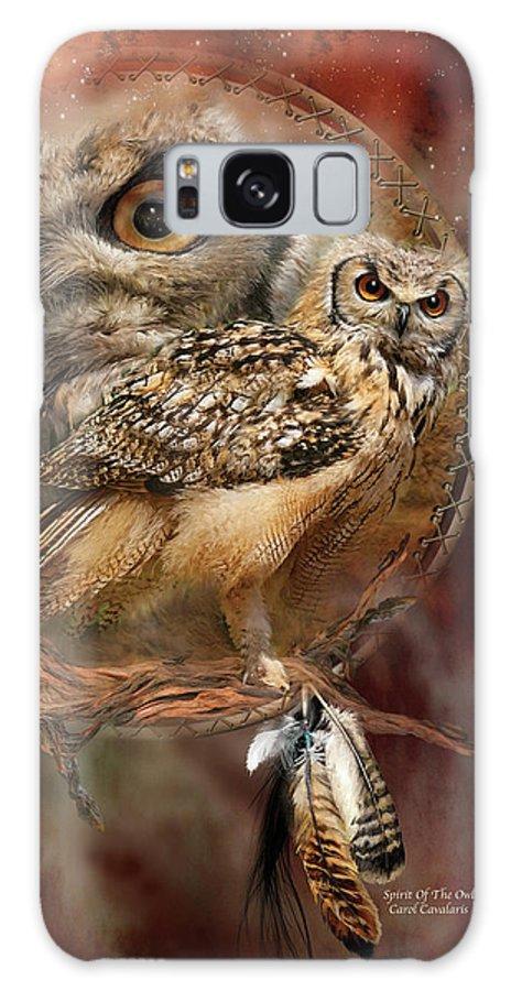 Carol Cavalaris Galaxy Case featuring the mixed media Dream Catcher - Spirit Of The Owl by Carol Cavalaris