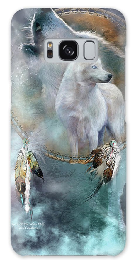 Carol Cavalaris Galaxy Case featuring the mixed media Dream Catcher - Spirit Of The White Wolf by Carol Cavalaris