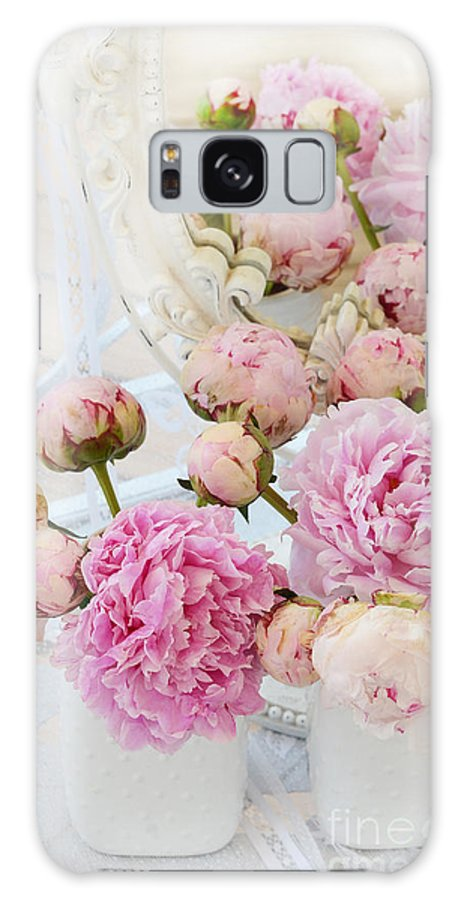 Pink White Peonies Galaxy S8 Case featuring the photograph Dreamy Shabby Chic Romantic Peonies - Garden Peonies White Mason Jars by Kathy Fornal