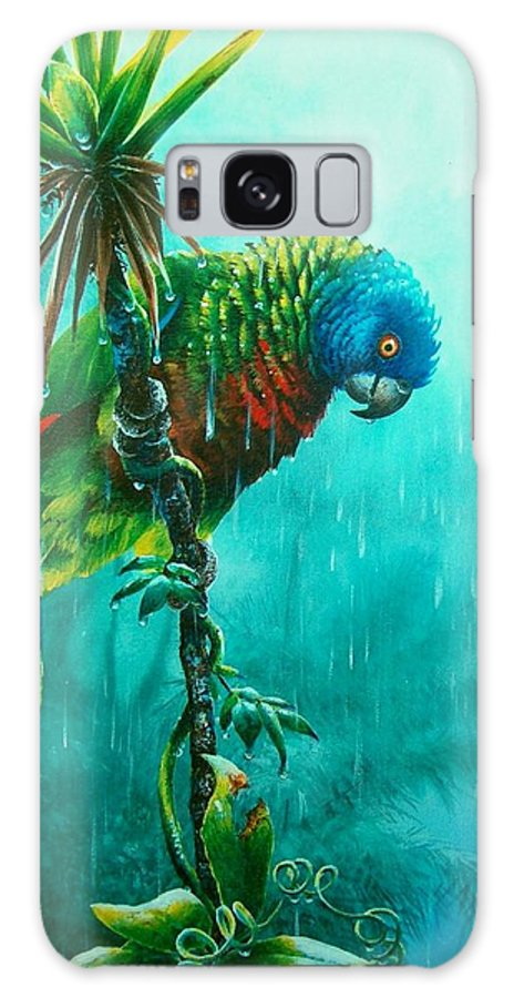 Chris Cox Galaxy S8 Case featuring the painting Drenched - St. Lucia Parrot by Christopher Cox
