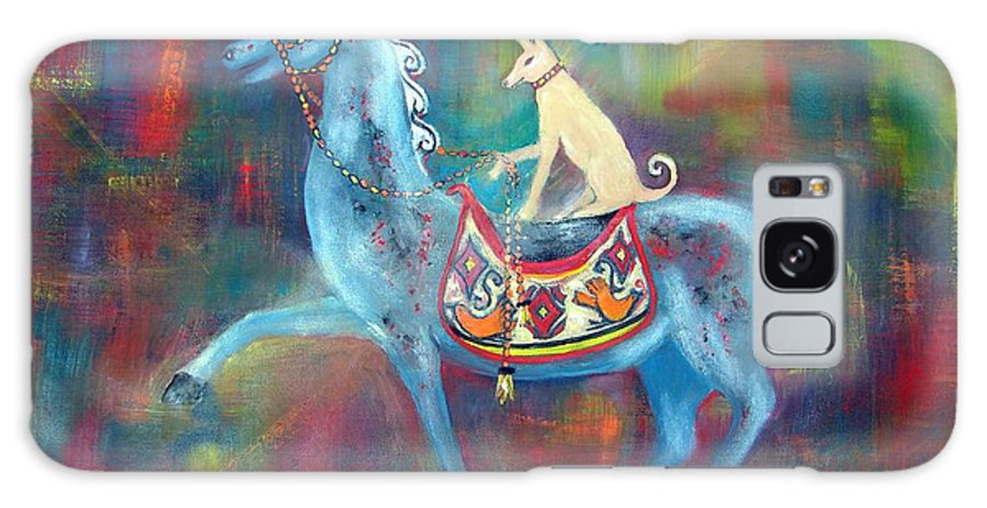 Horse With Dog Rider Galaxy S8 Case featuring the painting Dressage Winners by Sarah Wharton White