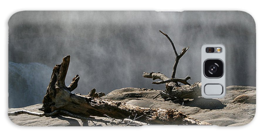 Wood Drift Driftwood Rock Mist Waterfall Nature Sun Sunny Waterful Glow Rock Old Aged Galaxy S8 Case featuring the photograph Driftwood by Andrei Shliakhau