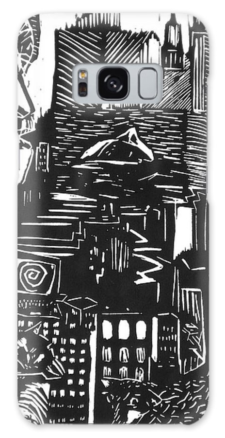 Apocalypse Buildings City Drown Lino Metropolis People Print Sheep Darkestartist Darkest Artist Black Galaxy S8 Case featuring the mixed media Drowning In Metropolis by Darkest Artist