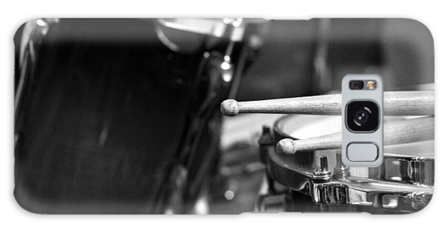 Drums Galaxy Case featuring the photograph Drumsticks and Drums in Black and White by Rebecca Brittain