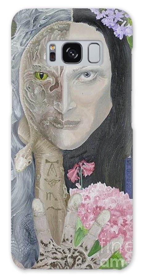 Portrait Dual Personality Flowers Hand Flute Crocodile Snake Boils Galaxy S8 Case featuring the painting Duality Of Nature by Pauline Sharp