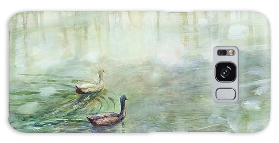 Ducks Galaxy S8 Case featuring the painting Ducks In The Shade  by Ekaterina Mortensen