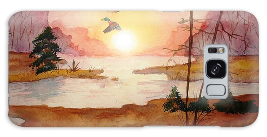 Ducks Galaxy S8 Case featuring the painting Ducks by Melissa Wiater Chaney