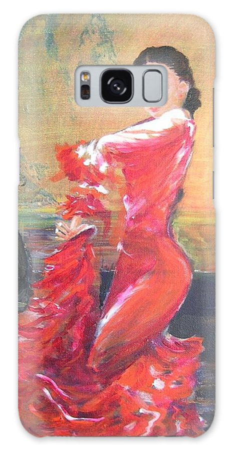 Gypsy Flamenco Dancer. Spanish Dancer Galaxy S8 Case featuring the painting Duende by Lizzy Forrester