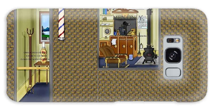 Townscape Galaxy S8 Case featuring the painting Dugger's Barber Shop by Anne Norskog