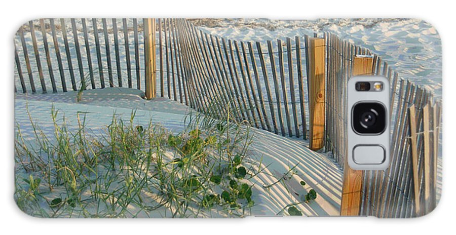 Sea Fence Galaxy Case featuring the photograph Dune Fence by Suzanne Gaff