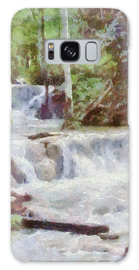 Dunn River Galaxy S8 Case featuring the painting Dunn River Falls by Jeffrey Kolker
