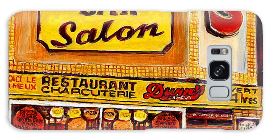 Dunn Galaxy S8 Case featuring the painting Dunn's Restaurant Montreal by Carole Spandau