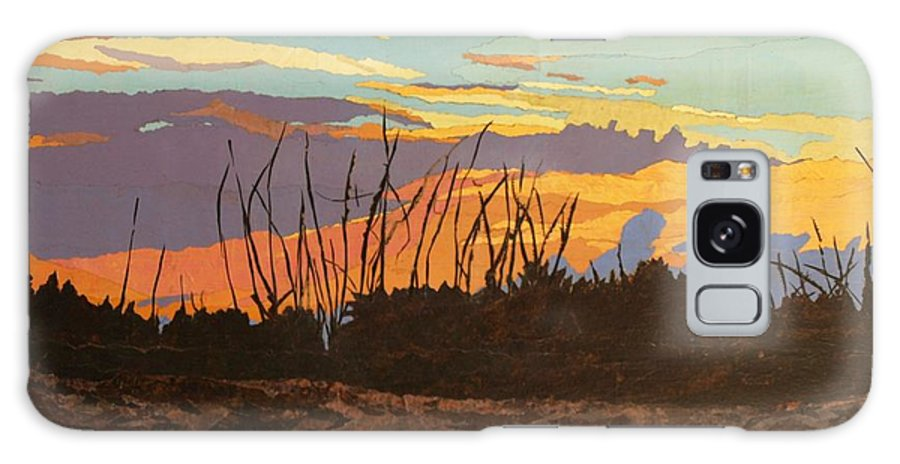 Sunset Galaxy Case featuring the painting Dusk Fishing, Hutchinson Island by Leah Tomaino