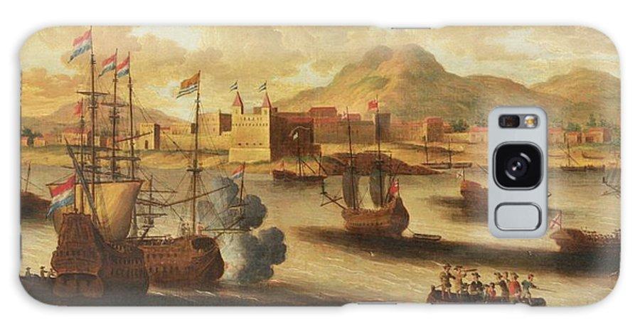 Pieter Van Den Velde (antwerp 1634 - After 1687 Antwerp) Dutch And English Warships Galaxy S8 Case featuring the painting Dutch And English Warships by Pieter