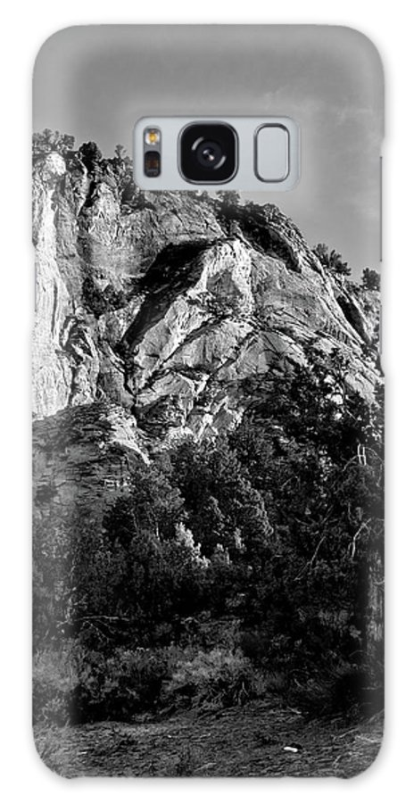Zion Galaxy S8 Case featuring the photograph Early Morining Zion B-w by Christopher Holmes