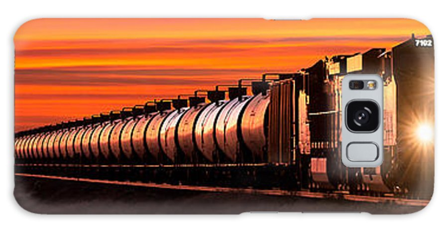Bnsf Galaxy Case featuring the photograph Early Morning Haul Panorama by Todd Klassy