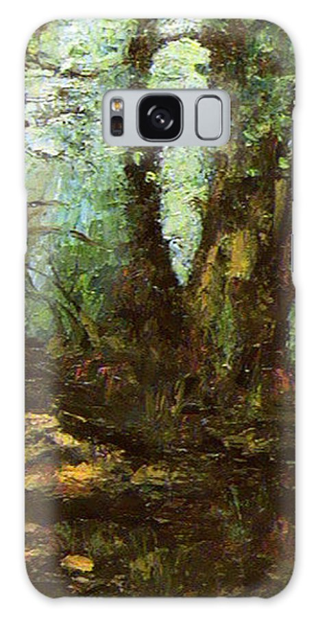 Landscape Galaxy S8 Case featuring the painting Early Morning In The Forest by Ioulia Sotiriou