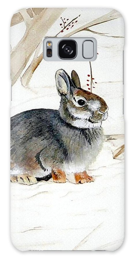 Rabbit Galaxy S8 Case featuring the painting Early Snow by Debra Sandstrom
