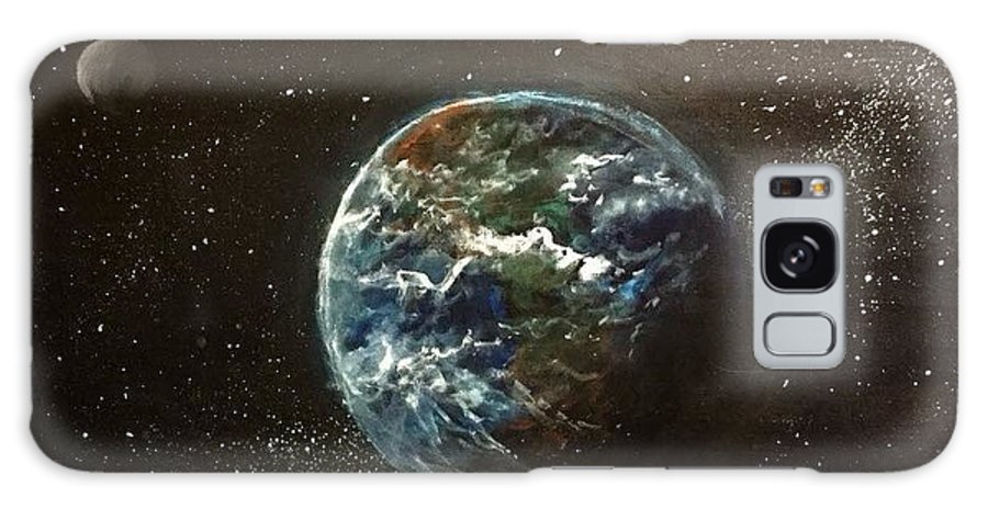 #space Galaxy S8 Case featuring the painting Earth From Above by Sarah Kleinhans