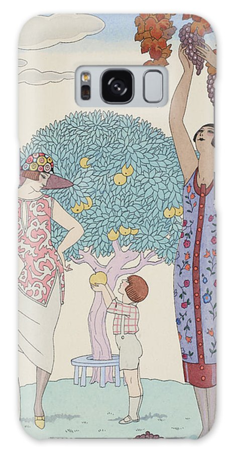 Barbier Galaxy S8 Case featuring the drawing Earth by Georges Barbier