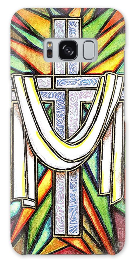 Cross Galaxy Case featuring the painting Easter Cross 5 by Jim Harris